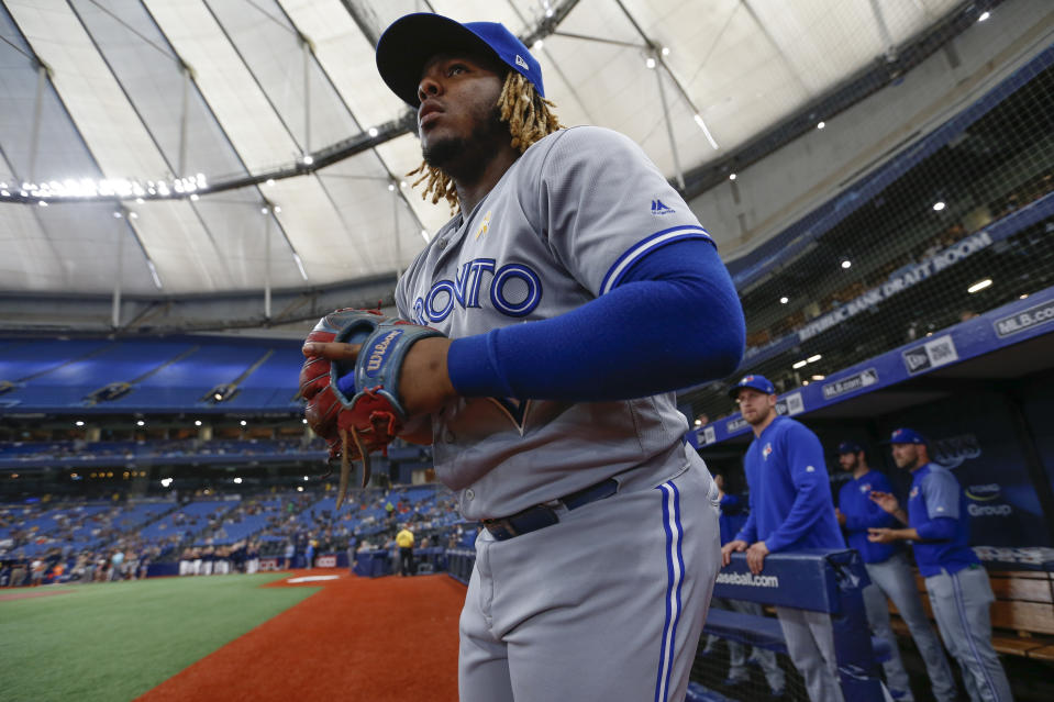 ST. PETERSBURG, FL - SEPTEMBER 07: Toronto Blue Jays third baseman Vladimir Guerrero Jr. (27) during the MLB game between the Toronto Blue Jays and Tampa Bay Rays on September 7, 2019 at Tropicana Field in St. Petersburg, FL. (Photo by Mark LoMoglio/Icon Sportswire via Getty Images)