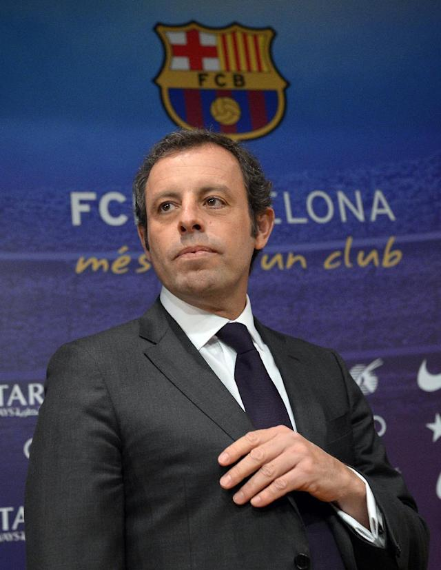 FC Barcelona's president Sandro Rosell, arrives for a press conference at the Camp Nou stadium in Barcelona, Spain, Thursday, Jan 23, 2014. Sandro Rosell is stepping down as president of Barcelona a day after a judge agreed to hear a lawsuit accusing him of allegedly hiding the cost of the transfer of Brazil striker Neymar.Rosell says he is resigning after an emergency meeting with Barcelona's board of directors on Thursday. Rosell says vice president Josep Bartomeu will take his place as president and finish the term that expires in 2016. Elected in 2010 to replace outgoing president Joan Laporta, Rosell said last April he planned to run for re-election in 2016. (AP Photo/Manu Fernandez)