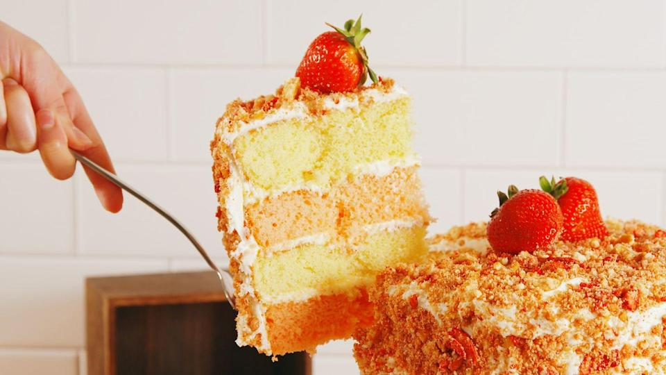 """<p>We turned our favorite ice cream bar into an even better cake!</p><p>Get the recipe from <a href=""""https://www.redbookmag.com/cooking/recipe-ideas/recipes/a52899/strawberry-crunch-cake-recipe/"""" rel=""""nofollow noopener"""" target=""""_blank"""" data-ylk=""""slk:Delish"""" class=""""link rapid-noclick-resp"""">Delish</a>.</p>"""