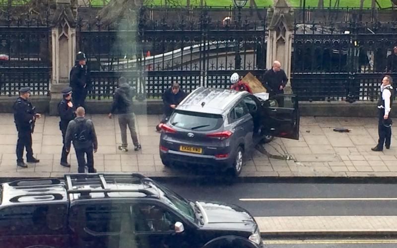 The Hyundai 4x4 Masood drove into pedestrians along Westminster Bridge before ploughing it into the gates of Parliament