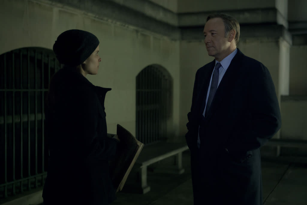 """Kate Mara and Kevin Spacey in the """"House of Cards"""" Season 1 episode, """"Chapter 2."""""""