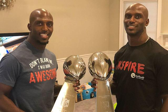 Devin (left) and Jason McCourty at Devin's home on Friday.