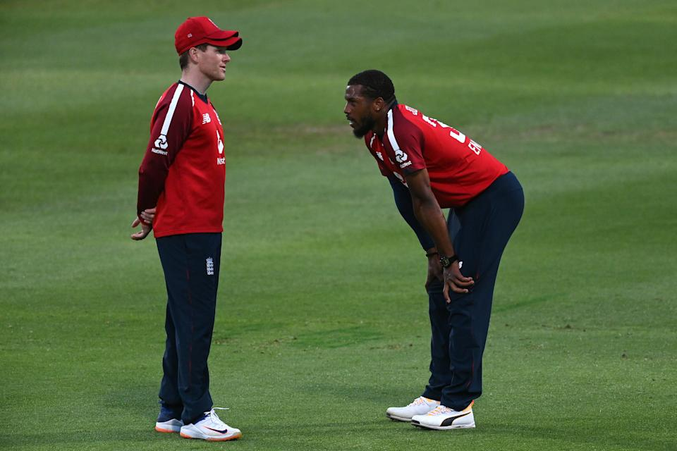 Jordan with England T20 captain Eoin MorganGetty Images