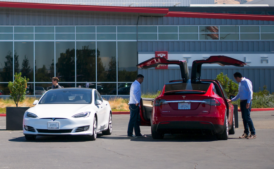 A Model S and X outside of Tesla's factory in Fremont, California.