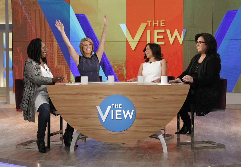 """Goldberg, Wallace, Perez and O'Donnell share the table on """"The View"""" season 18. (Photo: Getty Images)"""