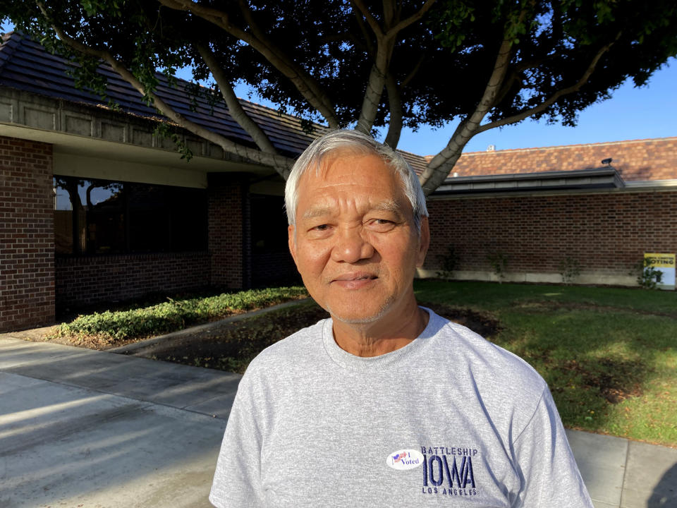 Than Nguyen, a 66-year-old retiree from Garden Grove, Calif. poses for a photo in Westminster, Calif. on Tuesday, Sept. 14, 2021. Nguyen said he voted for the recall as he didn't like how Gov. Gavin Newsom initially said the coronavirus was spread through nail salons, a comment that offended him as a member of the Vietnamese American community. He cast his ballot for Kevin Kiley, he said, since Kiley is the one who made the recall happen in the first place. (AP Photo/Amy Taxin)