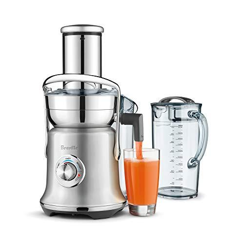 """<p><strong>Breville</strong></p><p>amazon.com</p><p><strong>$249.95</strong></p><p><a href=""""https://www.amazon.com/dp/B07QSXF9V9?tag=syn-yahoo-20&ascsubtag=%5Bartid%7C2140.g.29892433%5Bsrc%7Cyahoo-us"""" target=""""_blank"""">Shop Now</a></p><p>This model quickly juices carrots and <a href=""""https://www.womenshealthmag.com/food/a27481571/kale-vs-spinach/"""" target=""""_blank"""">kale</a> without the machine overheating (as many juicers do). Plus, a whole apple can fit into its wide feed tube, so you don't have to pull out a cutting board to chop your larger produce into pieces pre-juicing.</p>"""