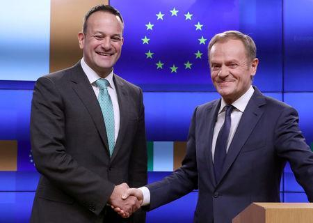EU Council President Donald Tusk and Irish Prime Minister Leo Varadkar shake hands as the they give statements after a meeting at the European Council headquarters in Brussels, Belgium February 6, 2019. REUTERS/Yves Herman