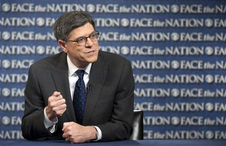"""U.S. Treasury Secretary Jack Lew speaks with host Bob Schieffer on """"Face the Nation"""" in Washington, in this photo courtesy of CBS News, taken October 6, 2013. REUTERS/CBS News/Chris Usher/Handout via Reuters"""