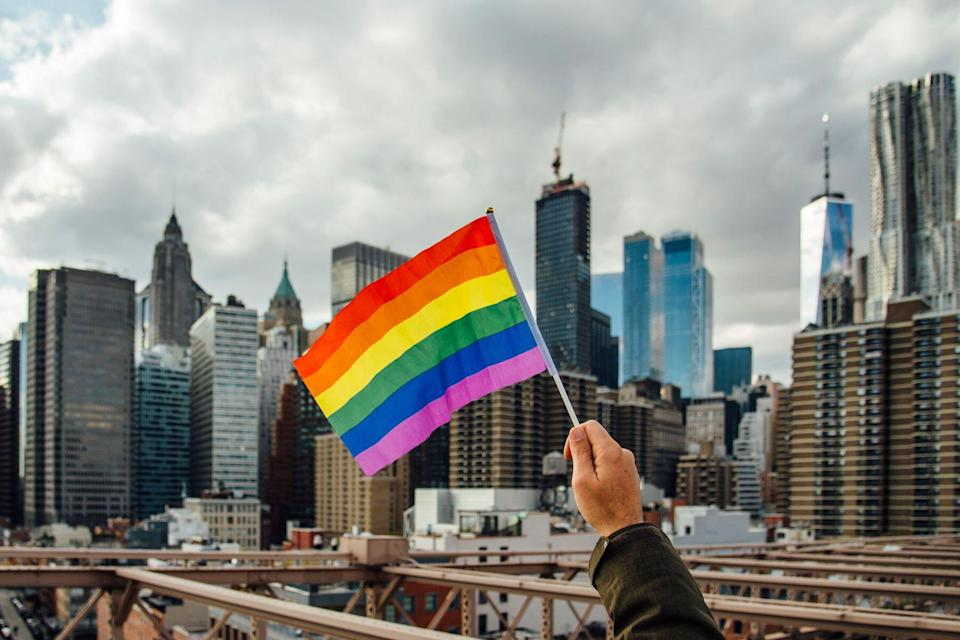pride flag over new york city