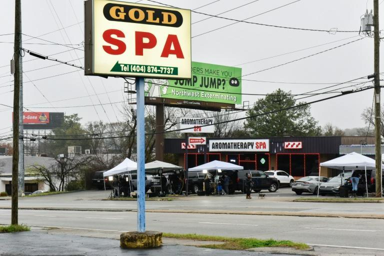 Gold Spa and Aromatherapy Spa are seen in Atlanta, Georgia Mrch 17, 2021, the day after several people were shot and killed there and at another suburban spa