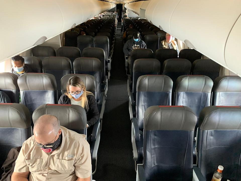 Many seats aboard an American Airlines flight from New Orleans to Charlotte, N.C., on May 15, 2020, were empty. No more. Going into the summer travel season this year, many flights are full.