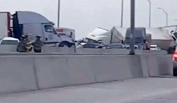 PHOTO: Scene of a pileup in Fort Worth, Texas, Feb. 11, 2021. (@j.aaywill/Instagram)