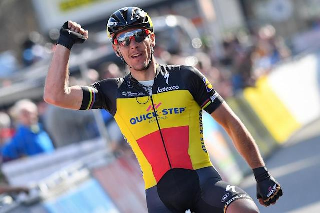 Belgian cyclist Philippe Gilbert, pictured in March 2017, won a sprint finish in Cham (AFP Photo/DAVID STOCKMAN)