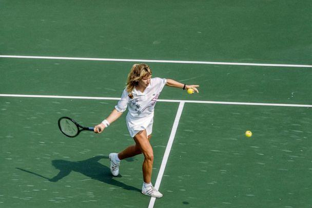 PHOTO: Steffi Graf plays in the Women's Singles event of the 1988 Summer Olympics at the Seoul Olympic Park Tennis Center in Seoul, South Korea. (David Madison/Getty Images, FILE)