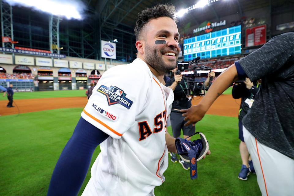Jose Altuve after his ALCS winning homer against the Yankees. (Photo by Alex Trautwig/MLB Photos via Getty Images)