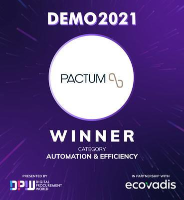 Pactum, Best Startup in Automation & Efficiency Category.  Digital Procurement World DEMO 2021. https://dpw.ai