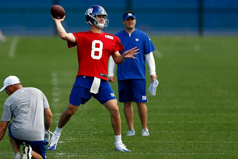 New York Giants quarterback Daniel Jones passes during an NFL football practice Monday, May 20, 2019, in East Rutherford, N.J.
