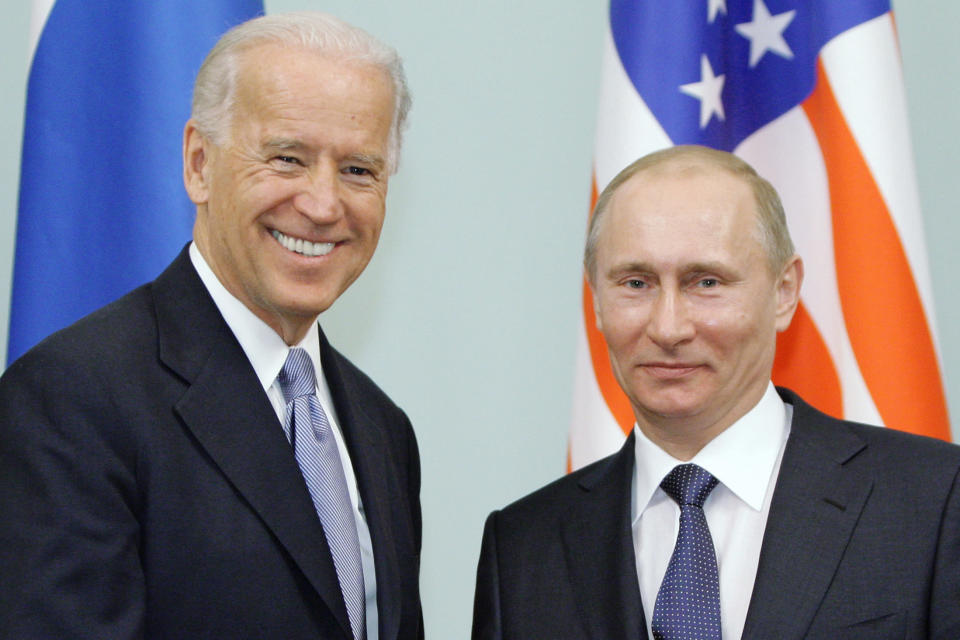 FILE - In this March 10, 2011 file photo, then Vice President Joe Biden, left, shakes hands with Russian Prime Minister Vladimir Putin in Moscow, Russia. At a low point in U.S.-Russian relations, President Joe Biden and Russian President Vladimir Putin appear to agree broadly on at least one thing — their first face-to-face meeting is a chance to set the stage for a new era in arms control. (RIA Novosti, Alexei Druzhinin/Pool via AP, file)