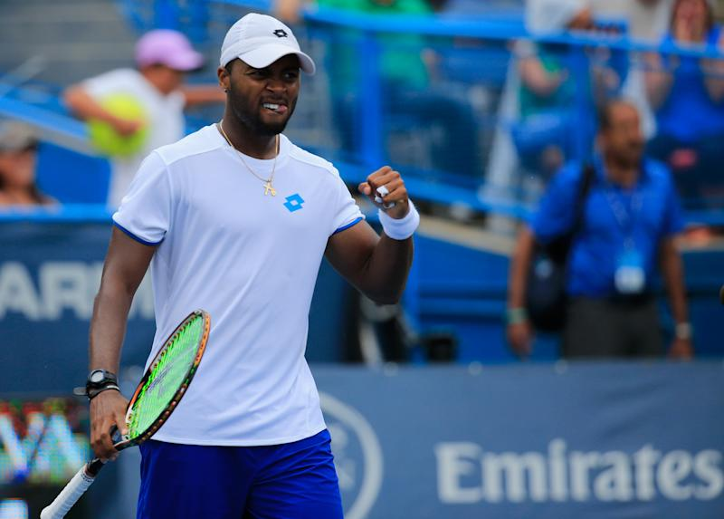 Donald Young of the United States celebrates his win over Kevin Anderson of South Africia during the Citi Open at the William H.G. FitzGerald Tennis Center on August 1, 2014 in Washington, DC (AFP Photo/Rob Carr)