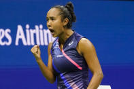 Leylah Fernandez, of Canada, reacts during a match against Naomi Osaka, of Japan, at the third round of the US Open tennis championships, Friday, Sept. 3, 2021, in New York. (AP Photo/John Minchillo)
