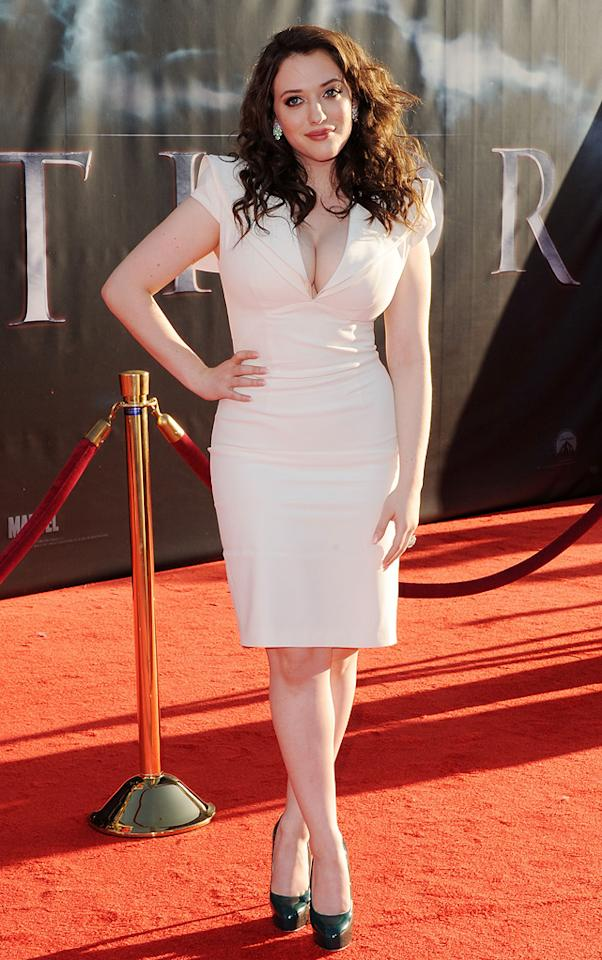 """<a href=""""http://movies.yahoo.com/movie/contributor/1807473847"""">Kat Dennings</a> attends the Los Angeles premiere of <a href=""""http://movies.yahoo.com/movie/1810026342/info"""">Thor</a> on May 2, 2011."""