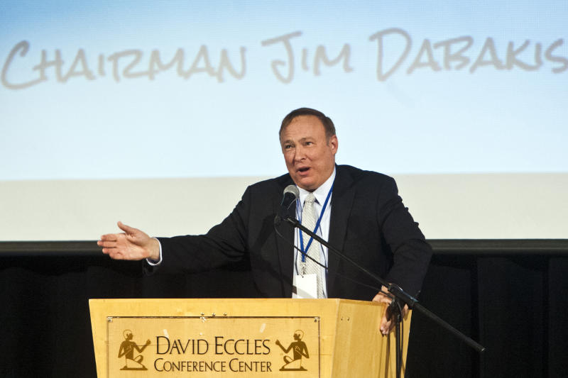 This June 22, 2013 photo, Utah State Senator and State Democratic Party Chairman Jim Dabakis speaks during the Utah Democratic Party Organizing Convention at the Ogden Eccles Conference Center in Ogden, Utah. Dabakis proposed to Stephen Justesen, his boyfriend of over twenty-five years, during a party at Club Sound Wednesday June 26, 2013 in Salt Lake City. Dabakis said the proposal was a spur-of-the-moment decision and a wedding date has not been set. In historic decisions, the U.S. Supreme Court handed gay-rights supporters major victories Wednesday, extending federal rights to same-sex couples and reversing a ban on gay marriage in California. (AP Photo/The Salt Lake Tribune, Chris Detrick)