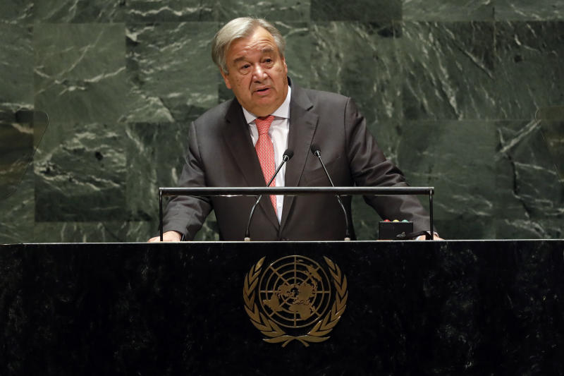 Antonio Guterres, secretario general de la ONU. (AP Photo/Richard Drew)