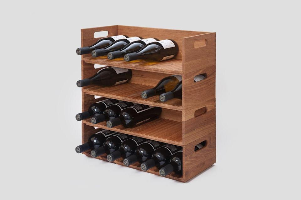 """<p>Starting your own cellar is never a bad idea and Mowat & Company's clever modular wine rack for Very Good & Proper is an elegant solution for homes short on space. Borrowing a trick from professional wine cellars, little wooden wedges keep bottles of all shapes and sizes in place, while its stackable design means expanding your stores is as simple as placing another unit on top. £90 <a href=""""https://www.verygoodandproper.shop/"""" rel=""""nofollow noopener"""" target=""""_blank"""" data-ylk=""""slk:verygoodandproper.shop"""" class=""""link rapid-noclick-resp"""">verygoodandproper.shop</a></p>"""