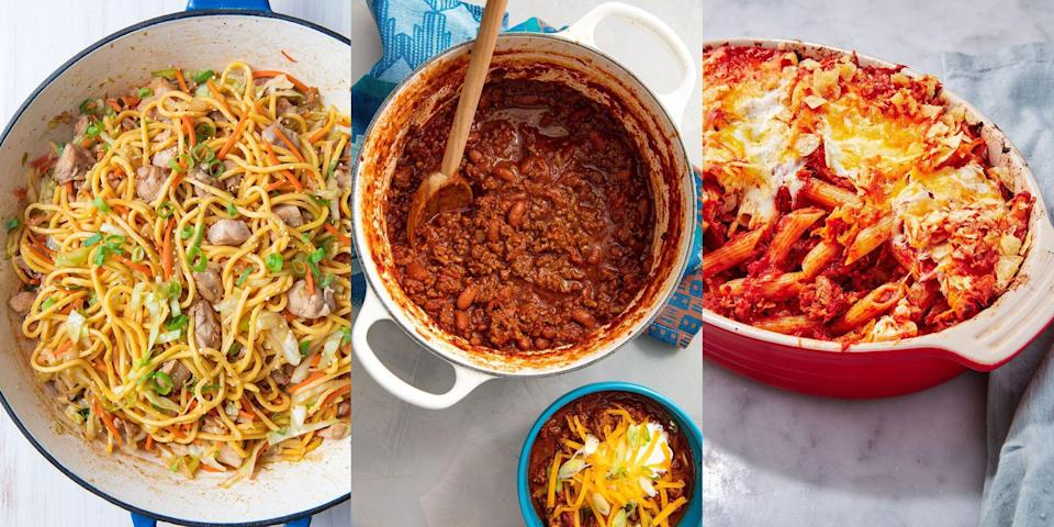 """<p>Looking for fuss-free, minimal ingredient recipes that are also super <a href=""""https://www.delish.com/uk/cooking/recipes/g36034095/easy-recipes/"""" rel=""""nofollow noopener"""" target=""""_blank"""" data-ylk=""""slk:easy to make"""" class=""""link rapid-noclick-resp"""">easy to make</a>? We've got you covered! With everything from <a href=""""https://www.delish.com/uk/cooking/recipes/a30265813/garlic-spaghetti-recipe/"""" rel=""""nofollow noopener"""" target=""""_blank"""" data-ylk=""""slk:Garlic Spaghetti"""" class=""""link rapid-noclick-resp"""">Garlic Spaghetti</a> to <a href=""""https://www.delish.com/uk/cooking/recipes/a30146397/easy-chicken-fajitas-recipe/"""" rel=""""nofollow noopener"""" target=""""_blank"""" data-ylk=""""slk:Chicken Fajitas"""" class=""""link rapid-noclick-resp"""">Chicken Fajitas</a>, and <a href=""""https://www.delish.com/uk/cooking/recipes/a33653203/chicken-stir-fry-recipe/"""" rel=""""nofollow noopener"""" target=""""_blank"""" data-ylk=""""slk:Honey Garlic Stir Fry"""" class=""""link rapid-noclick-resp"""">Honey Garlic Stir Fry</a> to <a href=""""https://www.delish.com/uk/cooking/recipes/a29733946/best-baked-cod-fish-recipe/"""" rel=""""nofollow noopener"""" target=""""_blank"""" data-ylk=""""slk:Baked Cod"""" class=""""link rapid-noclick-resp"""">Baked Cod</a>, there's just SO much for you to choose from. So, if you need some <a href=""""https://www.delish.com/uk/cooking/recipes/g33965648/dinner-inspiration/"""" rel=""""nofollow noopener"""" target=""""_blank"""" data-ylk=""""slk:dinner inspiration"""" class=""""link rapid-noclick-resp"""">dinner inspiration</a>, take a look at our easy dinner recipes now. </p><p>Looking for some <a href=""""https://www.delish.com/uk/cooking/recipes/g32708558/vegetarian-side-dishes/"""" rel=""""nofollow noopener"""" target=""""_blank"""" data-ylk=""""slk:easy sides"""" class=""""link rapid-noclick-resp"""">easy sides</a> to go with? We've got those, too!</p>"""