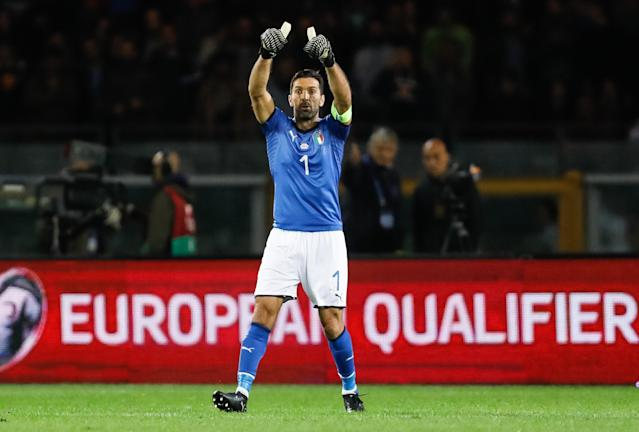 "If <a class=""link rapid-noclick-resp"" href=""/soccer/players/gianluigi-buffon/"" data-ylk=""slk:Gianluigi Buffon"">Gianluigi Buffon</a> is to play at one more World Cup, Italy will have to beat Sweden in the UEFA playoffs. (Getty)"