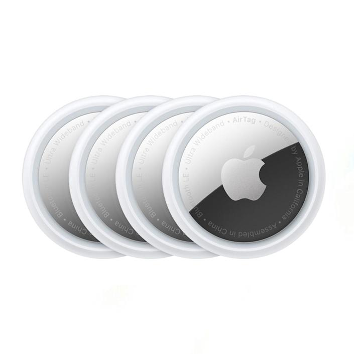 """The perennial """"Where are my keys?"""" question will soon be a thing of the past with Apple's new AirTags, which he can sync to his iPhone to keep track of his valuables. $99, Apple. <a href=""""https://www.apple.com/shop/buy-airtag/airtag/4-pack"""" rel=""""nofollow noopener"""" target=""""_blank"""" data-ylk=""""slk:Get it now!"""" class=""""link rapid-noclick-resp"""">Get it now!</a>"""