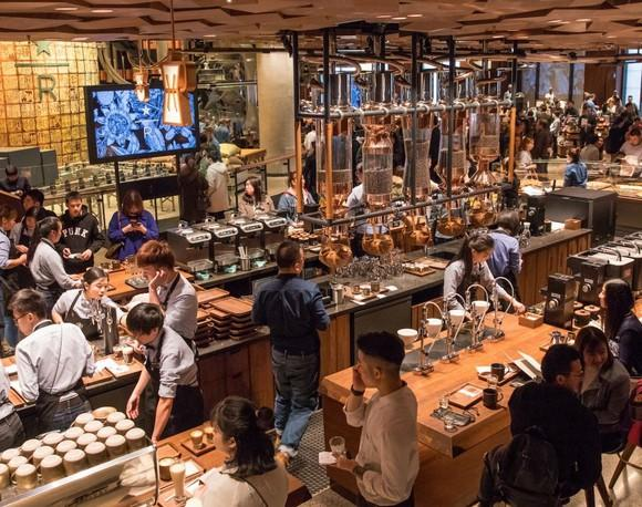 The bustling interior of the Starbucks Reserve Roastery in Shanghai