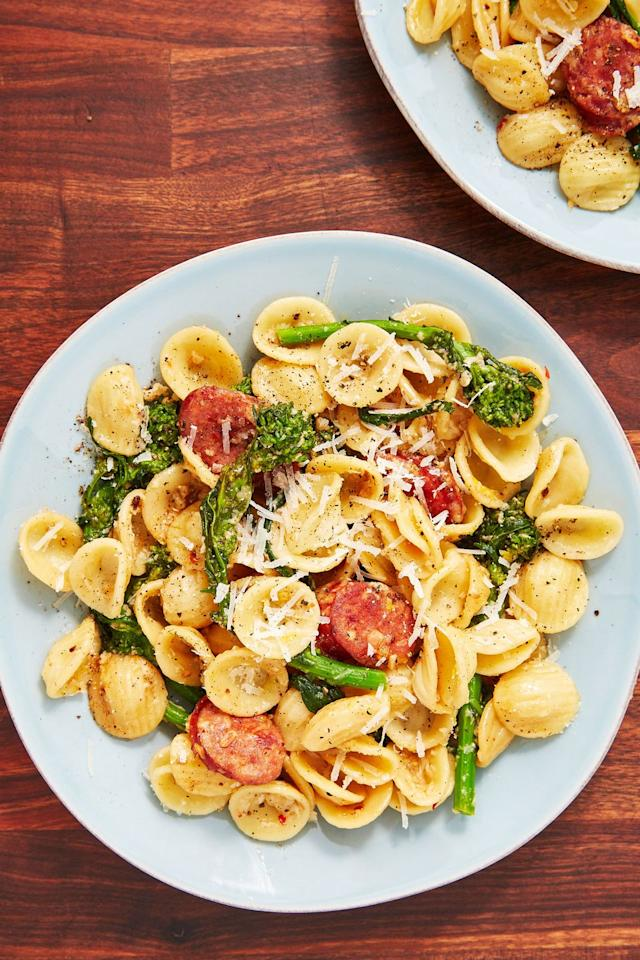 """<p>The sauce is reminiscent of cacio e pepe, so you <em>know</em> it's good. </p><p>Get the recipe from <a href=""""https://www.delish.com/cooking/recipe-ideas/a28414419/orecchiette-pasta-with-broccoli-rabe-recipe/"""" target=""""_blank"""">Delish</a>.</p>"""