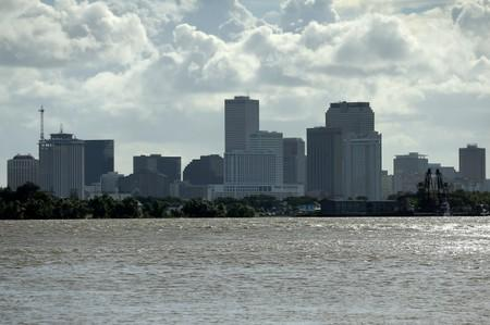 A view of downtown New Orleans pictured with the Mississippi River as Tropical Storm Barry approaches land in New Orleans