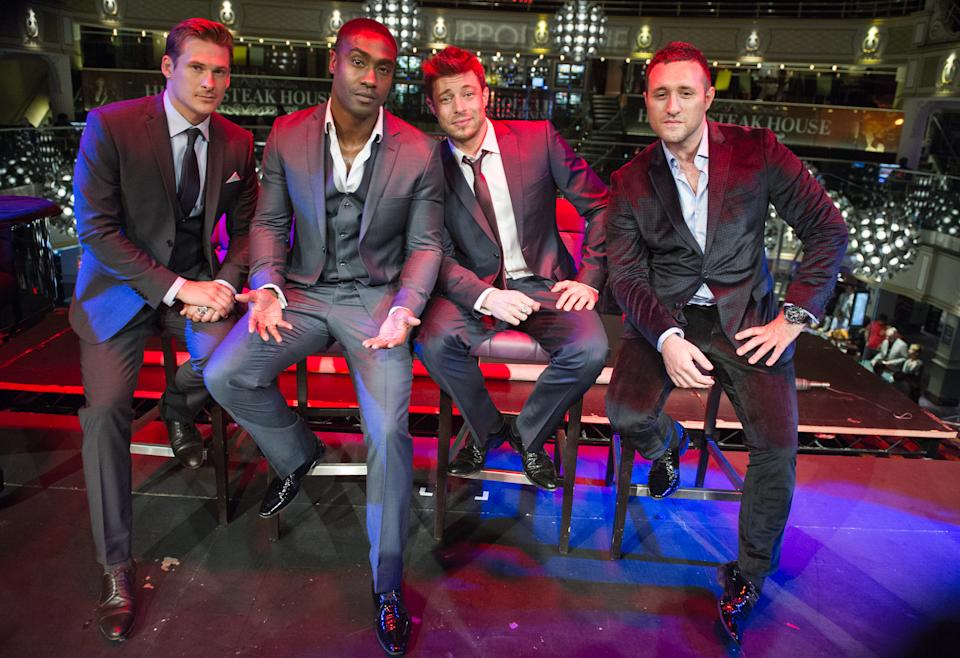 LONDON, ENGLAND - AUGUST 15:  (EXCLUSIVE COVERAGE) Lee Ryan, Simon Webbe, Duncan James and Anthony Costa of Blue pose at the premiere of the music video for the single 'Break My Heart' at Hippodrome Casino on August 15, 2013 in London, England. (Photo by Ollie Millington/Getty Images)
