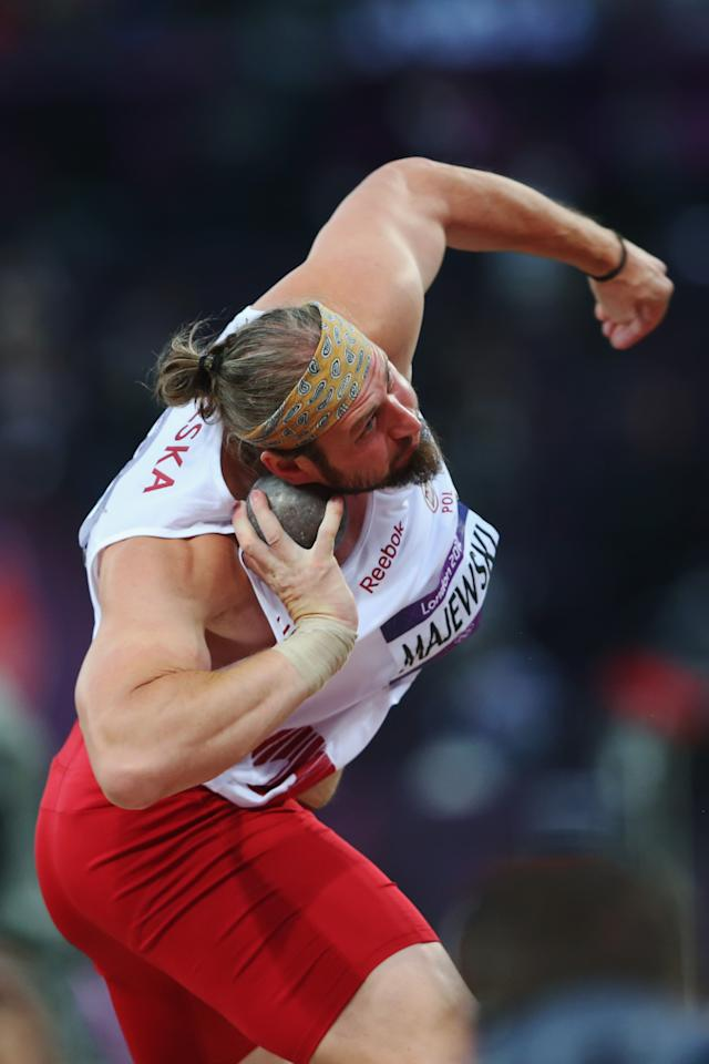 LONDON, ENGLAND - AUGUST 03: Tomasz Majewski of Poland competes in the Men's Shot Put Final on Day 7 of the London 2012 Olympic Games at Olympic Stadium on August 3, 2012 in London, England. (Photo by Alexander Hassenstein/Getty Images)