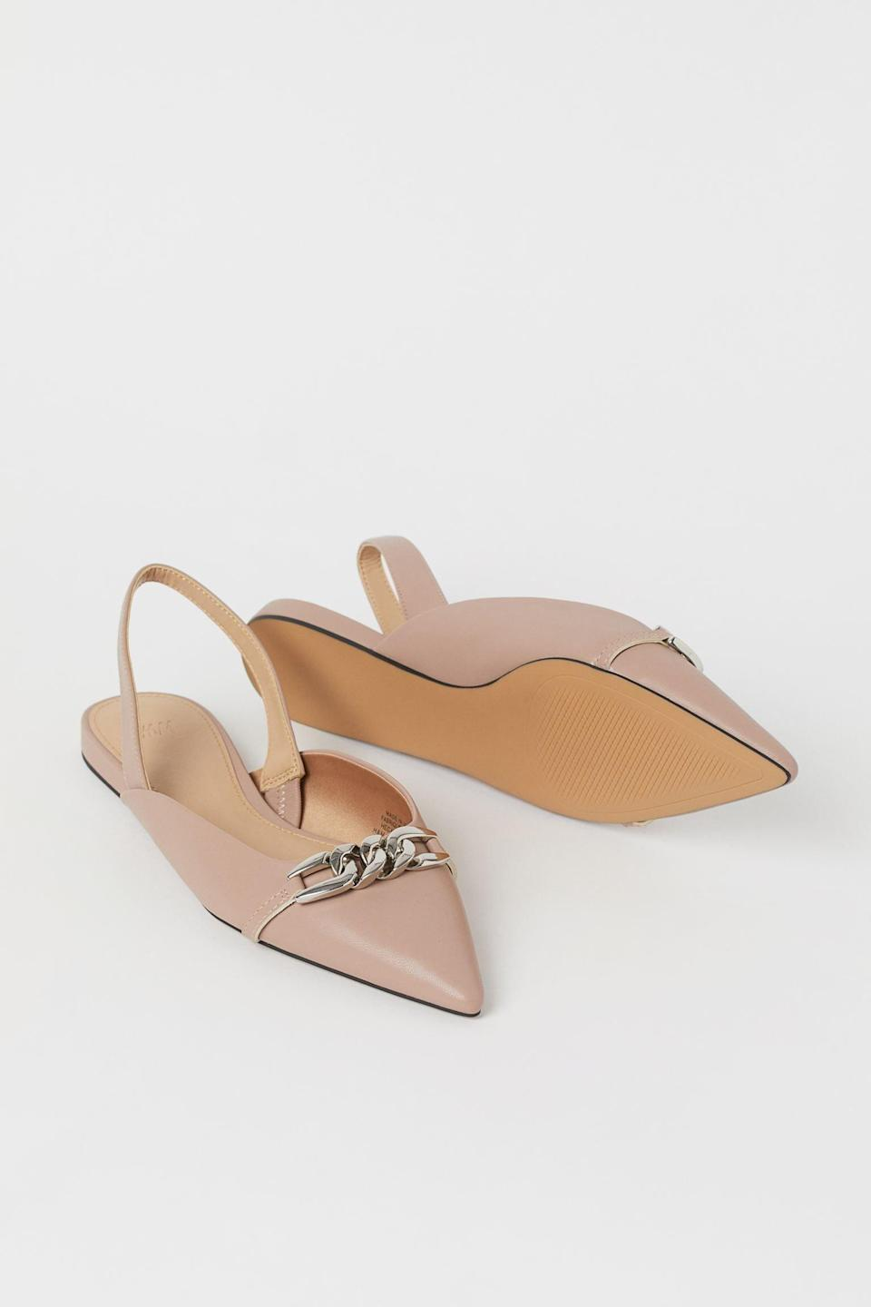 <p>These classic <span>H&amp;M Chain-detail Slingbacks</span> ($16, originally $30) will go well with some pieces in your closet.</p>