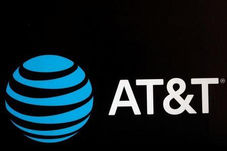 The AT&T logo is pictured during the Forbes Forum 2017 in Mexico City