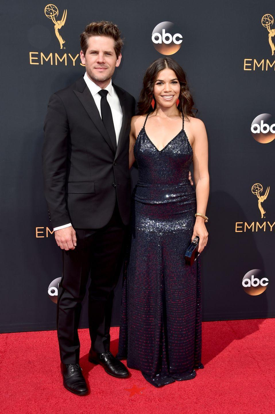 """<p>America Ferrera and her husband of nine years, Ryan Piers Williams, met when he cast her in one of his student films while they were <a href=""""https://www.bustle.com/p/how-did-america-ferrera-her-husband-ryan-piers-williams-meet-its-such-a-hollywood-story-7744259"""" rel=""""nofollow noopener"""" target=""""_blank"""" data-ylk=""""slk:studying at the University of Southern California"""" class=""""link rapid-noclick-resp"""">studying at the University of Southern California</a>. They started dating in 2005, shortly after Ferrera's career took off with <em>The Sisterhood of the Traveling Pants </em>and <em>Ugly Betty</em>, and got married in 2011.</p>"""