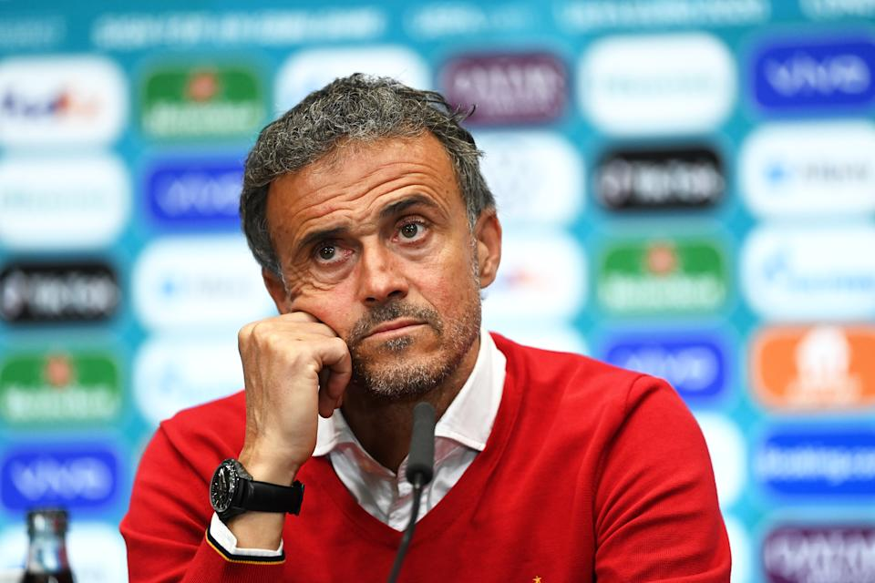 LONDON, ENGLAND - JULY 06: In this handout picture provided by UEFA, Luis Enrique, Head Coach of Spain talks to the media during the Spain Press Conference after the UEFA Euro 2020 Championship Semi-final match between Italy and Spain at Wembley Stadium on July 06, 2021 in London, England. (Photo by UEFA/UEFA via Getty Images)