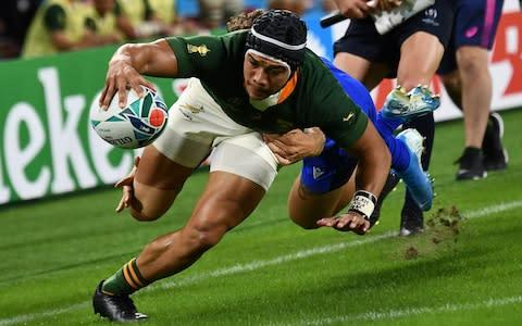 <span>Cheslin Kolbe has scored two tries at the Rugby World Cup so far</span> <span>Credit: AFP </span>