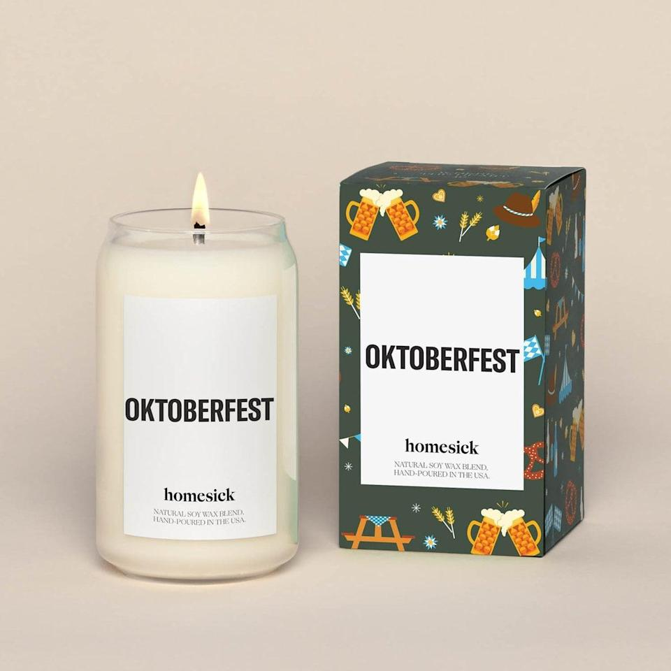 <p>Each base of the <span>Homesick Oktoberfest Candle</span> ($34) brings new fall-inspired scents so expect notes of pumpkin ale, cinnamon, allspice, and vanilla extract.</p>
