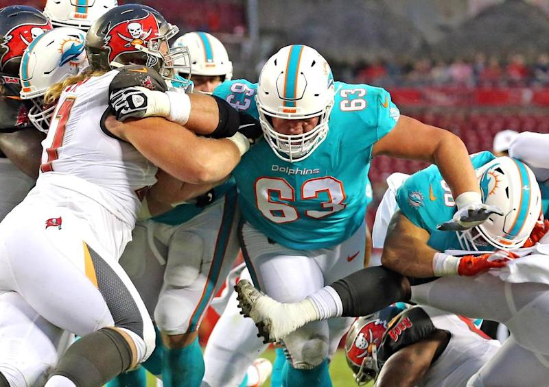 Miami Dolphins guard Michael Deiter (63) as they play the Tampa Bay Bucs at Raymond James Stadium in Tampa, Florida, Friday, August, 16, 2019.
