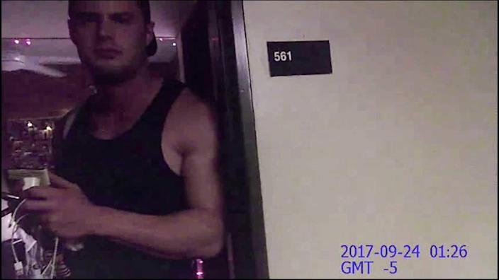A bodycam image of Mark Howerton outside of Cayley Mandadi's Trinity University apartment after a neighbor called campus police.