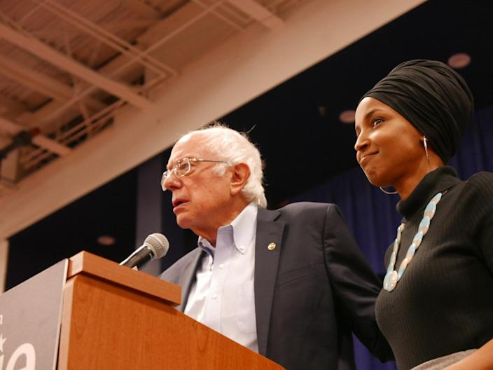 Sen. Bernie Sanders, I-Vt., and Rep. Ilhan Omar, D-Minn., at a campaign event. (Photo: Hunter Walker/Yahoo News)