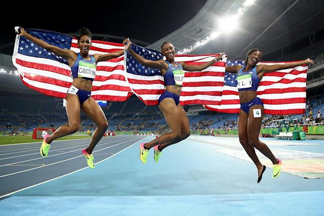 <p>A truly golden moment for Team USA. Americans Brianna Rollins, Nia Ali and Kristi Castlin won the gold, silver and bronze medal in the 100-meter hurdles. This is our favorite kind of sweep and it's the first time any country has ever done so at the Olympics. (Photo by Cameron Spencer/Getty Images) </p>