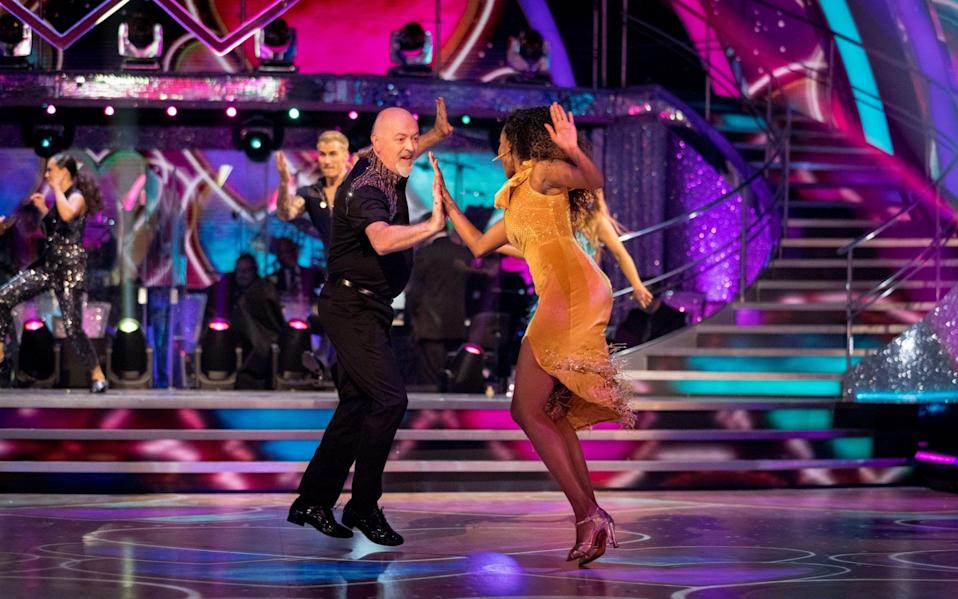 Bill Bailey and Oti Mabuse, during the launch show - BBC