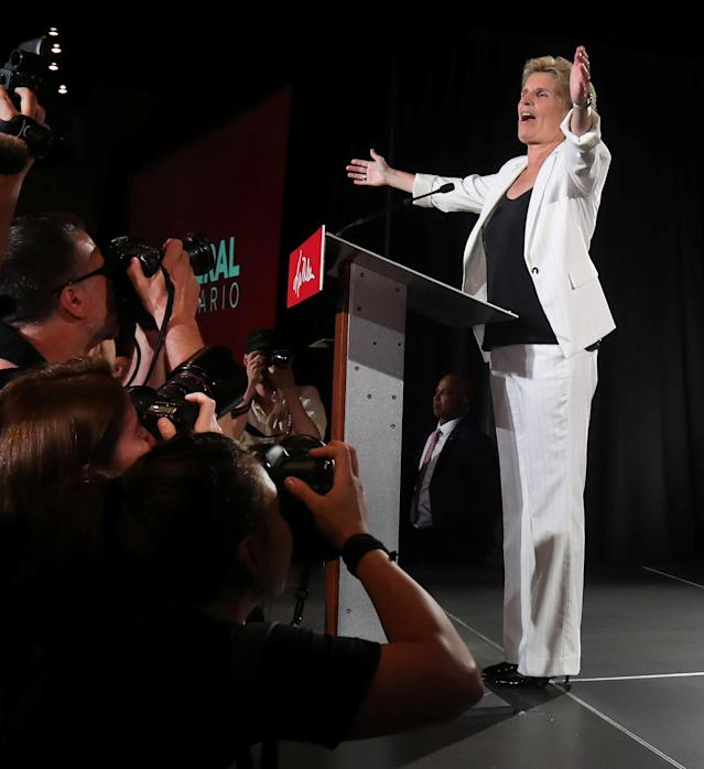 Ontario Premier Kathleen Wynne speaks to supporters after voting closed in provincial elections, during her campaign event in Toronto, Ontario, Canada June 7, 2018. REUTERS/Fred Thornhill