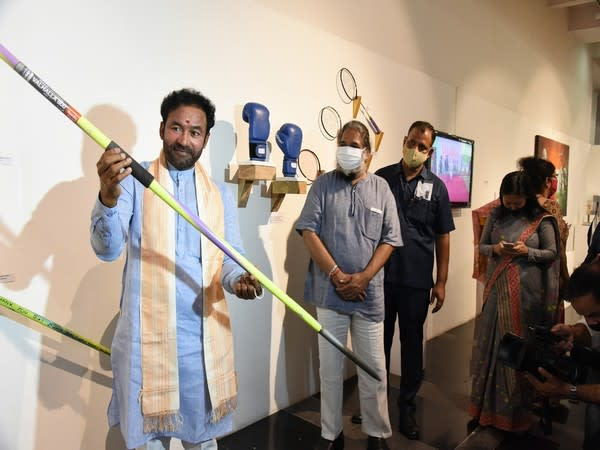 Minister of Culture G Kishan Reddy with javelin (Photo/ANI)